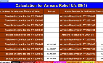 Arrears Relief Calculator U/s 89(1)